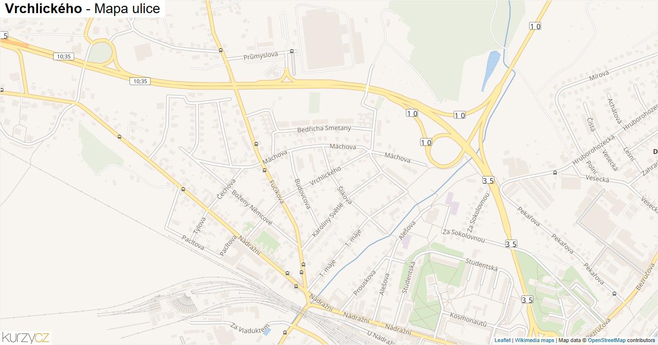 Vrchlického - mapa ulice