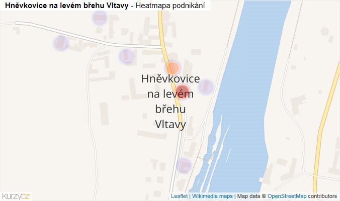 Mapa Hněvkovice na levém břehu Vltavy - Firmy v části obce.