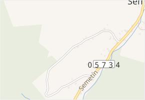 Semetín v obci Vsetín - mapa části obce