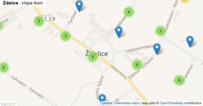 Mapa Žiželice - Firmy v obci.