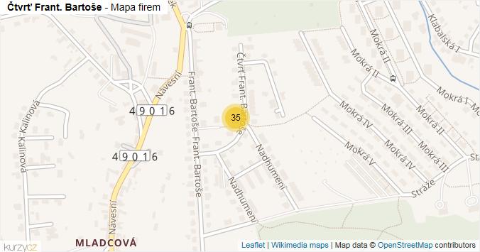 Mapa Čtvrť Frant. Bartoše - Firmy v ulici.