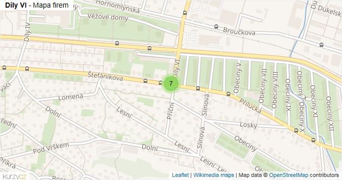 Mapa Díly VI - Firmy v ulici.