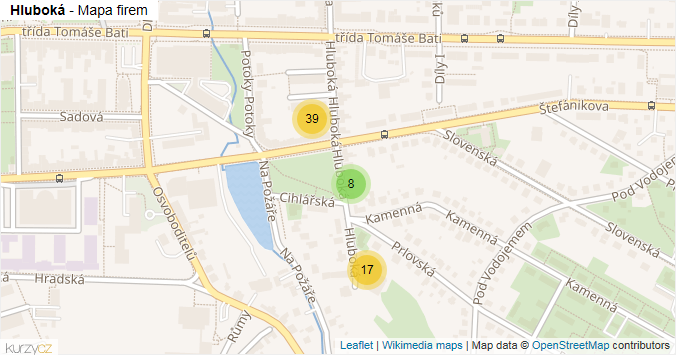 Mapa Hluboká - Firmy v ulici.