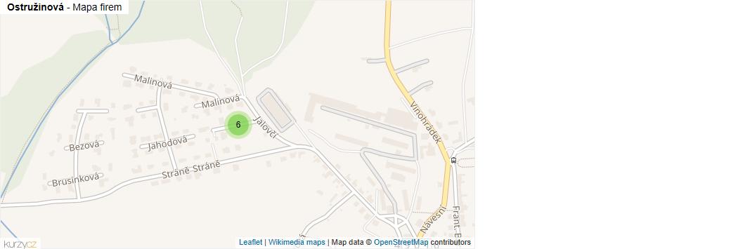 Mapa Ostružinová - Firmy v ulici.
