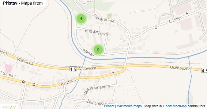 Mapa Přístav - Firmy v ulici.