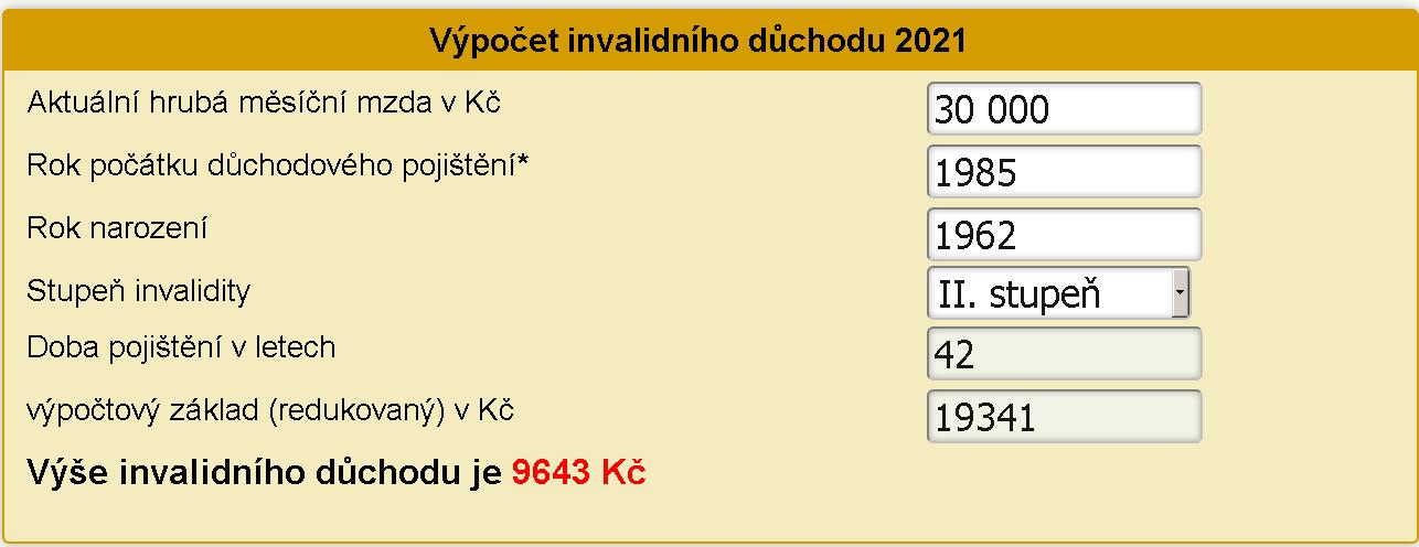 Výpočet invalidního důchodu 2021