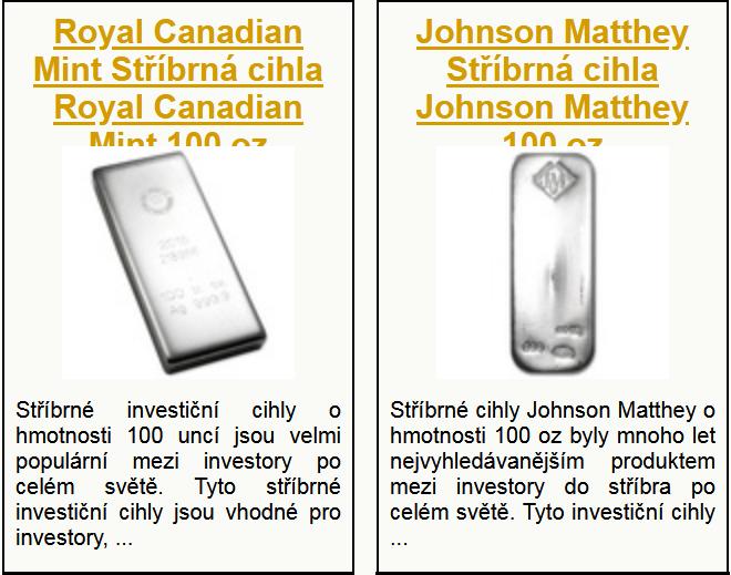 Katalog investičního stříbra