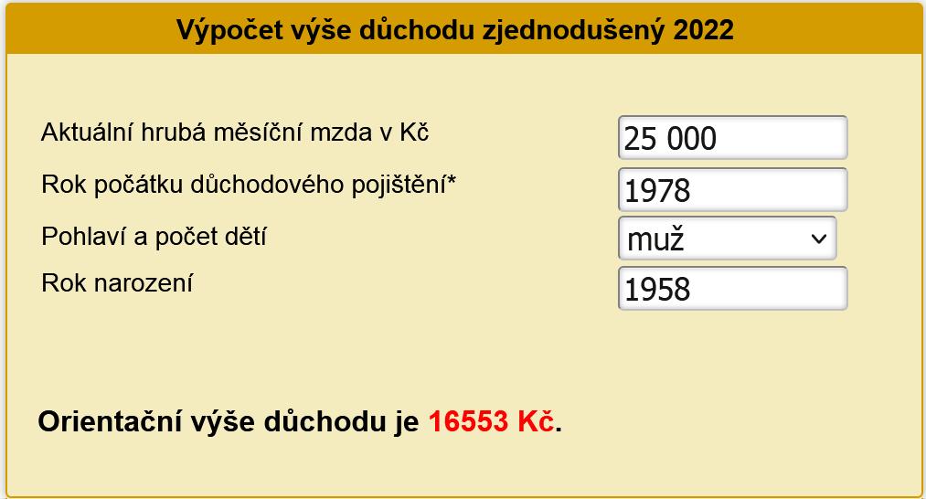 Výpočet starobního důchodu 2022