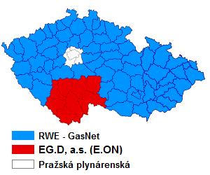 Mapa distributorů plynu