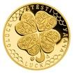 Zlatý dukát Čtyřlístek pro štěstí s věnováním proof