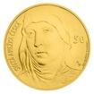 Zlatá medaile ve váze 40dukátu s motivem 50 Kč bankovky - sv. Anežka Česká stand