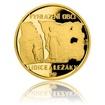 Zlatá čtvrtuncová mince Lidice a Ležáky proof