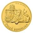 Zlatá desetiuncová investiční mince Český lev 2018 stand