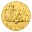 Zlatá pětiuncová investiční mince Český lev 2018 stand