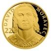 Zlatá čtvrtuncová mince Legendy čs. hokeje - David Moravec proof