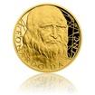 Zlatá půluncová mince Leonardo da Vinci proof