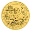 Zlatá pětiuncová investiční mince Český lev 2019 stand
