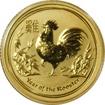 Zlatá investiční mince Year of the Rooster Rok Kohouta Lunární 1/10 Oz 2017