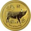Zlatá investiční mince Year of the Pig Rok Vepře Lunární 1/2 Oz 2019