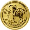 Zlatá investiční mince Year of the Goat Rok Kozy Lunární 1/4 Oz 2015