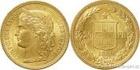 Zlatá mince švýcarský dvacetifrank-Helvetica 1883 20 frank