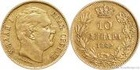 Zlatý jugoslávský 10 dinár Milan Obrenovič  I. 1882 10 dinár