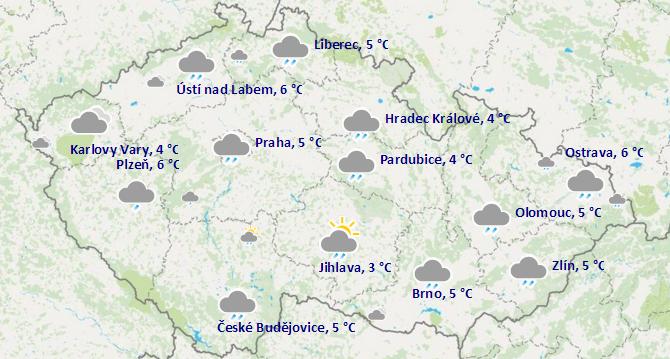 Předpověď počasí yr.no v češtině na dnes
