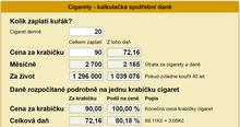 Spotřební daň cigarety - kalkulačka