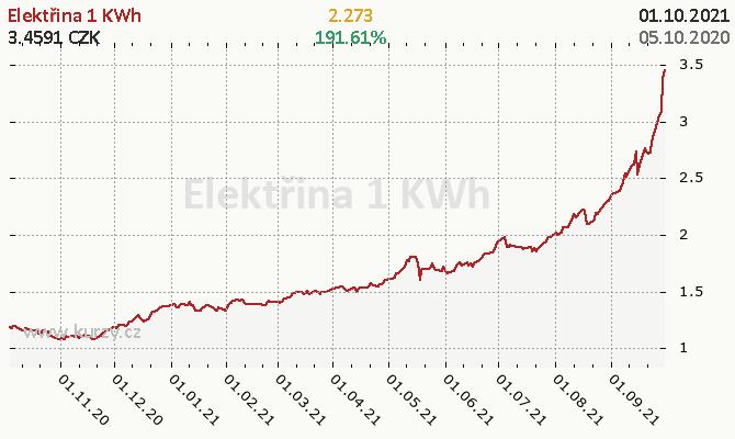 Cena 1kWh elektřiny v korunách