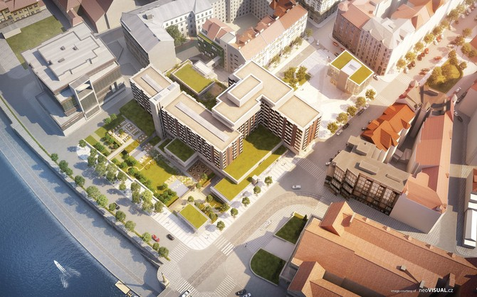 Návrh dostavby piazzetty Miloše Formana z dílny TaK Architects